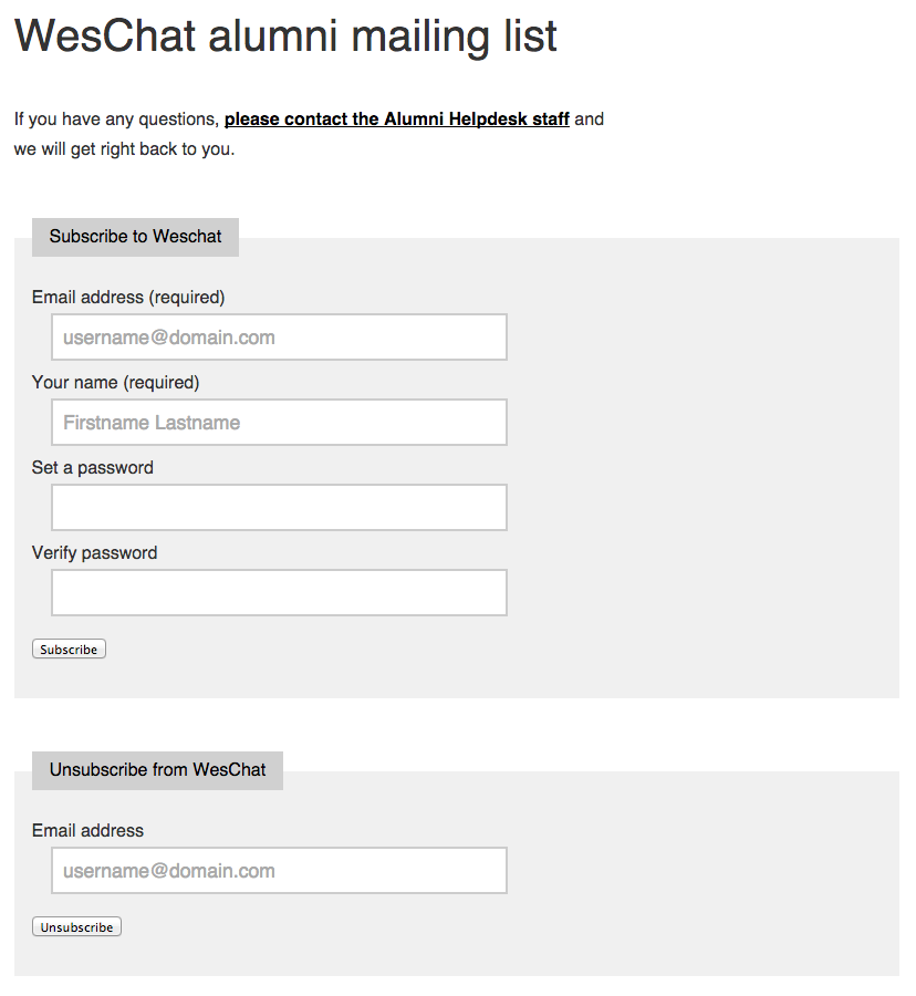 WesChat subscribe/unsubscribe form