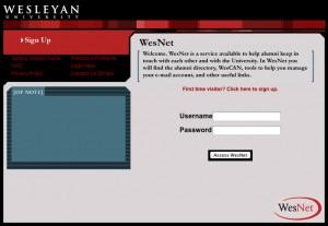 [Old WesNet login page]