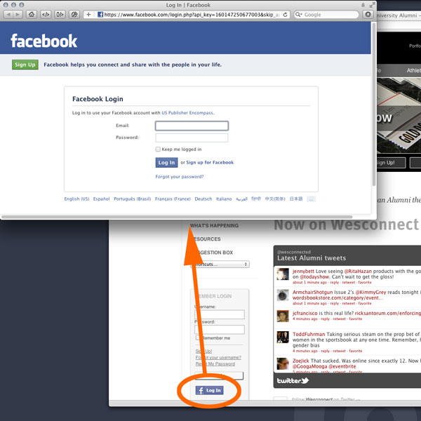 Facebook Log In popup window