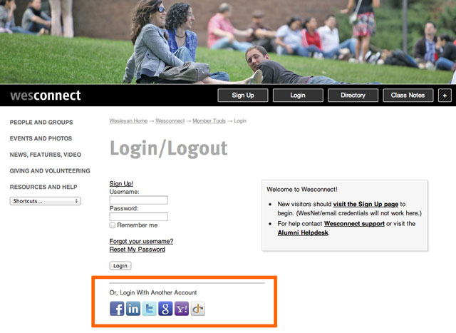 iModules Connect login screenshot