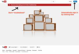 Youtube error page